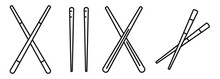 Bamboo Chopsticks Icons Set. O...