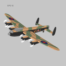 Vintage Bomber Vector Illustartion. WW2 Heavy Military Aircraft. Legendary Retro Airplane