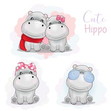 Set Cute Cartoon Hippo With Ri...