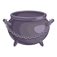Cauldron With Chain Icon. Cartoon Of Cauldron With Chain Vector Icon For Web Design Isolated On White Background