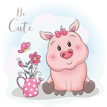 Cute Cartoon Pig And Flower Wi...