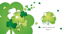Saint Patricks Day Clovers Green Line Design Landscape Background