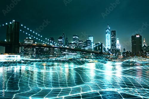 La pose en embrasure New York City backdrop with grid
