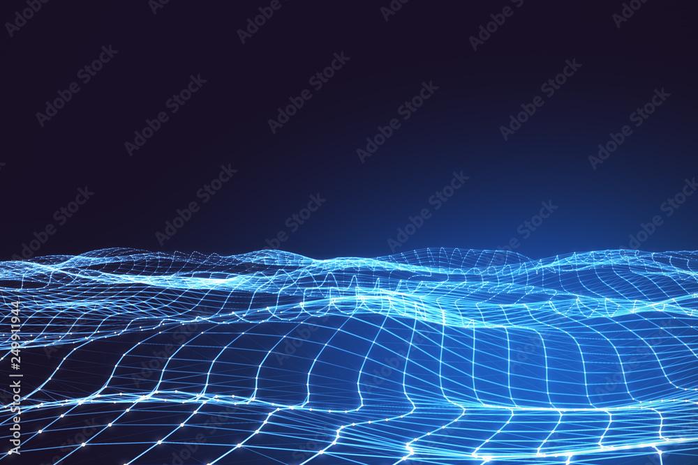 Fototapety, obrazy: Glowing grid background