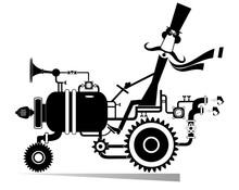 Funny Mustache Man Rides On Fantastical Car Illustration. Funny Mustache Man In The Top Hat Rides Uncommon Car Black On White