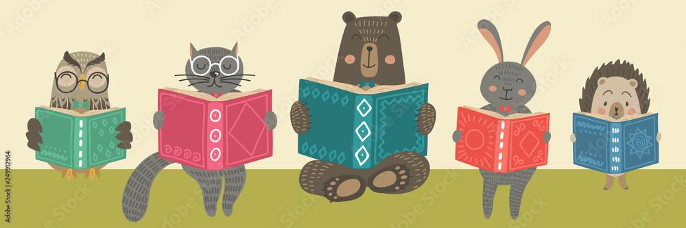 Fototapeta Cute animals readimg books.