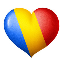 Romanian Flag Heart Isolated O...
