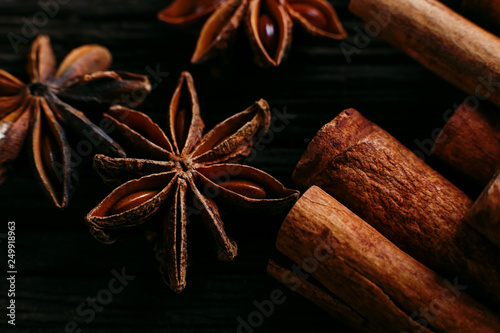 Spices Sticks Cinnamon And Star Anise On The Old Table