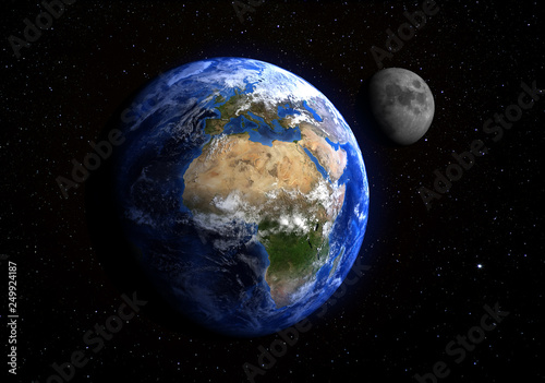 The Earth and the Moon from space showing Europe and Africa. Stars in the background. Elements of this image furnished by NASA - 249924187