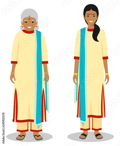 cc562173aa Set of standing together old and young indian woman in the traditional  clothing isolated on white background in flat style. Different people in  the east ...