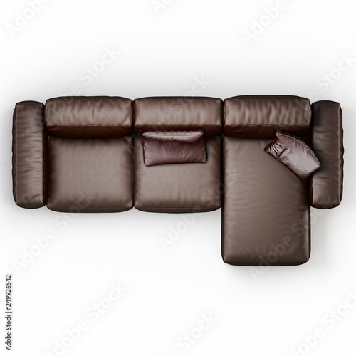 Leather corner sofa brown color on a white background top ...