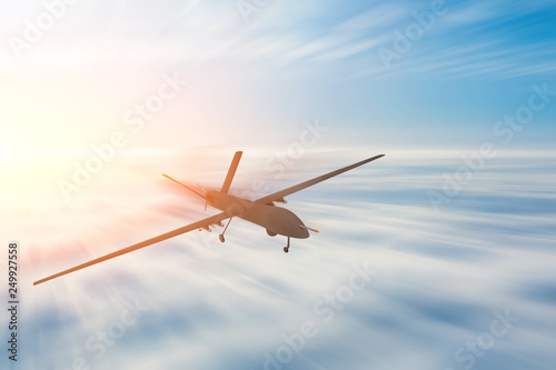 фотография  Unmanned military drone uav flight motion blur high speed