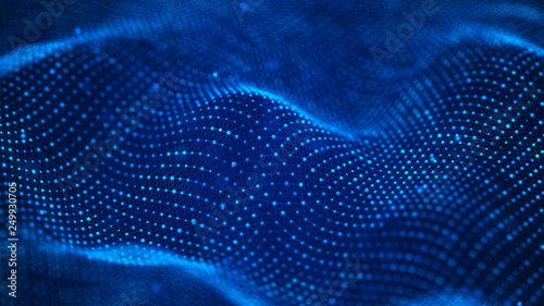 Photo Stands Fractal waves Data technology background. Abstract background. Connecting dots and lines on dark background. 3D rendering. 4k.