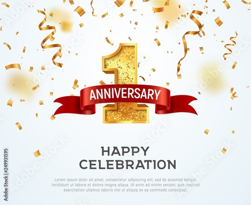 1 year anniversary vector banner template. First jubilee with red ribbon and confetti on white background Fotomurales
