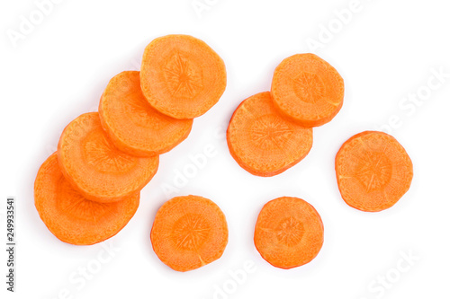 Carrot slice isolated on white background. Top view. Flat lay Poster Mural XXL