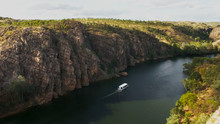 Tour Boat Sails Up Katherine Gorge In Nitmiluk National Park
