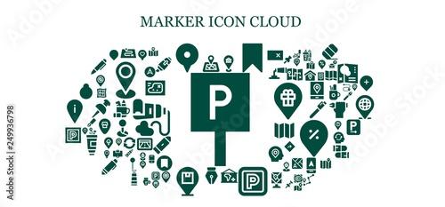Fototapety, obrazy: marker icon set