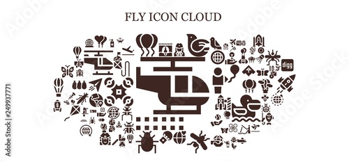 Slika na platnu fly icon set