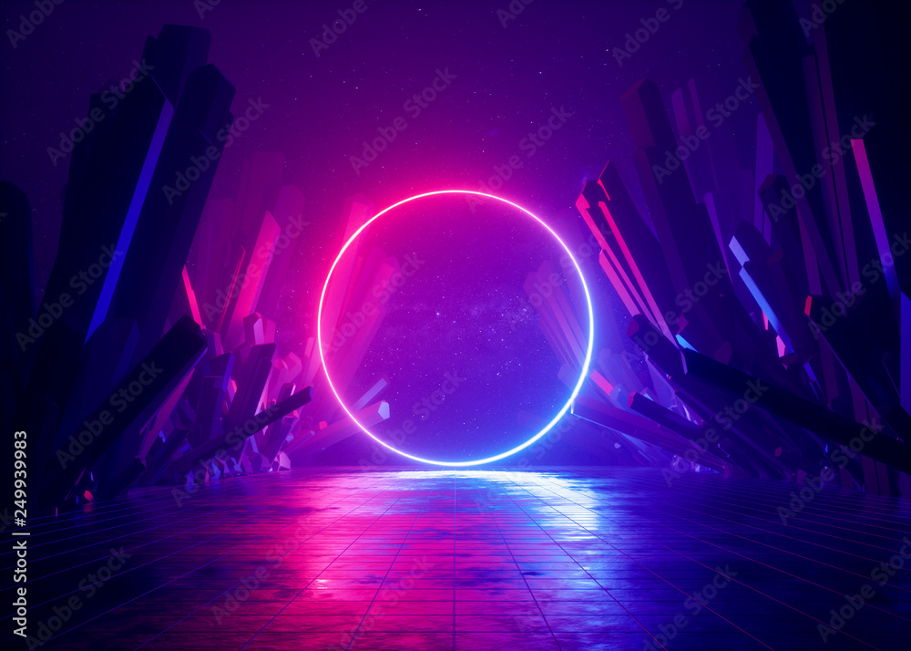 Fototapety, obrazy: 3d render, abstract background, cosmic landscape, round portal, pink blue neon light, virtual reality, energy source, glowing round frame, dark space, ultraviolet spectrum, laser ring, rocks, ground