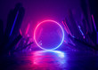 canvas print picture - 3d render, abstract background, cosmic landscape, round portal, pink blue neon light, virtual reality, energy source, glowing round frame, dark space, ultraviolet spectrum, laser ring, rocks, ground
