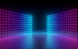 canvas print picture - 3d render, abstract background, screen pixels, glowing dots, neon lights, virtual reality, ultraviolet spectrum, pink blue vibrant colors, catwalk fashion podium, laser show, stage, isolated on black