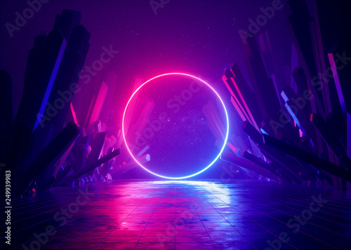Obraz 3d render, abstract background, cosmic landscape, round portal, pink blue neon light, virtual reality, energy source, glowing round frame, dark space, ultraviolet spectrum, laser ring, rocks, ground - fototapety do salonu
