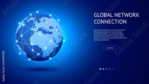 Obraz Global network connection concept. Best Internet, global business. World map point and line composition vector illustration - fototapety do salonu