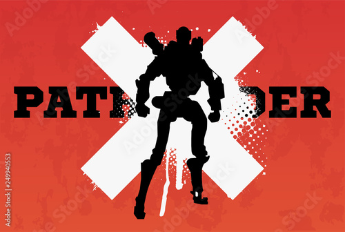 Photo Apex legends, Pathfinder character, battle royale concept, vector illustration in grunge style