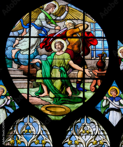 Fotografia, Obraz  Beheading of Saint John the Baptist - Stained Glass