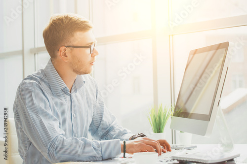 Canvas Prints Textures Business man working at office with laptop and documents on his desk, consultant lawyer concept