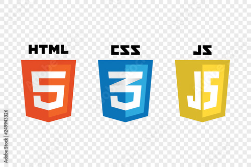 Fototapeta vector collection of web development shield signs: html5, css3 and javascript. obraz