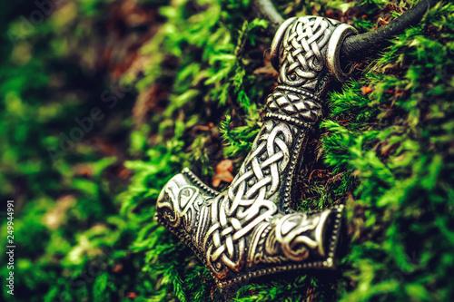 Scandinavian amulet in the form of the Thor's hammer - Mjölnir. Canvas Print