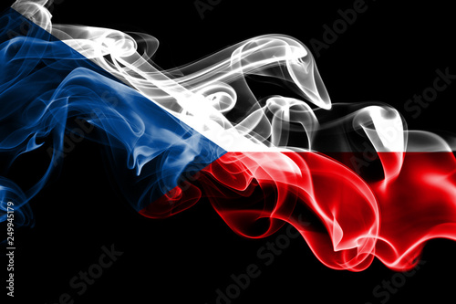 Photo  National flag of Czech Republic made from colored smoke isolated on black background