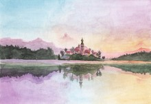 Watercolor Painting - Slovenia Bled Island