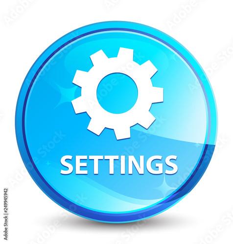 Fotografía  Settings splash natural blue round button