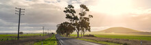 Panoramic View Of A Lonely Country Road With Late Afternoon Sun In Victoria Australia