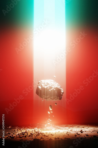 Foto auf Leinwand Rot kubanischen Eenergy source light beam from the sky, levitating rock, red 3d illustration