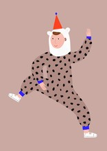Funny Man Partying In A Bear And Leopard Costume