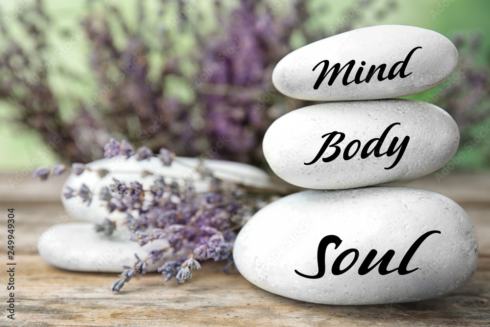 Fototapety, obrazy: Spa stones with lavender flowers on table