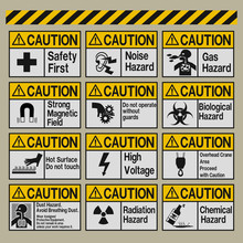 Set Of Industrial Warning Sign