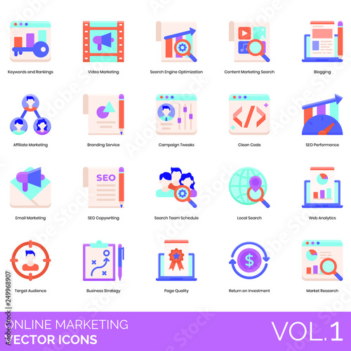 Online marketing icons including video, search engine optimization