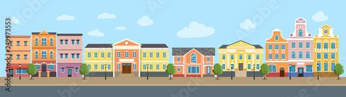 City life set buildings. City street panoramic. Vector flat style illustration.