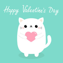 Happy Valentines Day. White Baby Cat Kitten Head Face Holding Pink Heart. Cute Cartoon Kawaii Funny Kitty Animal Character. Flat Design. Love Card. Blue Background. Isolated.