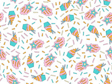 Funny Cute Cartoon Seamless Pattern With Sweet Blue And Pink Cupcakes, Confetti And Decoration. Endless Cute Pattern With Sweet Cup Cake On White Background. Blue Cream Cupcakes Colored Seamless