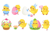 Cute Easter Chickens Set. Cart...