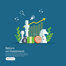 Return Investment ROI Or Growth Business Finance Concept. Increase Profit Stretching Rising Up. Flat Style Vector Illustration Of Market Data Analytics, Strategic Management, Financial Planning.