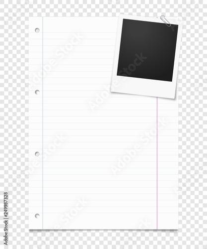 Fotografie, Obraz  Liniertes Blatt Papier mit Foto