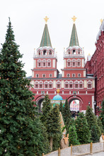 Gates To The Red Square In Moscow, Spruce Trees,