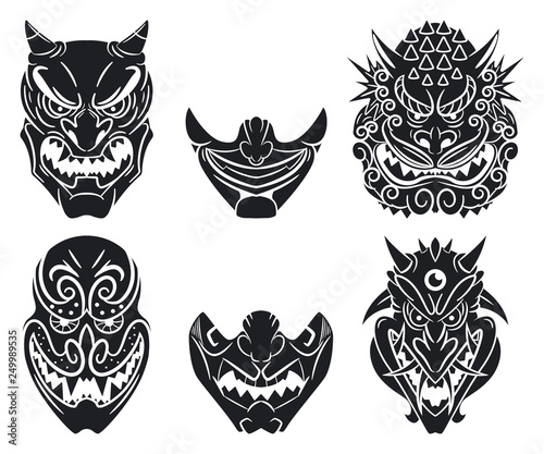 Oni and kabuki traditional japanese masks with demon face Wallpaper Mural
