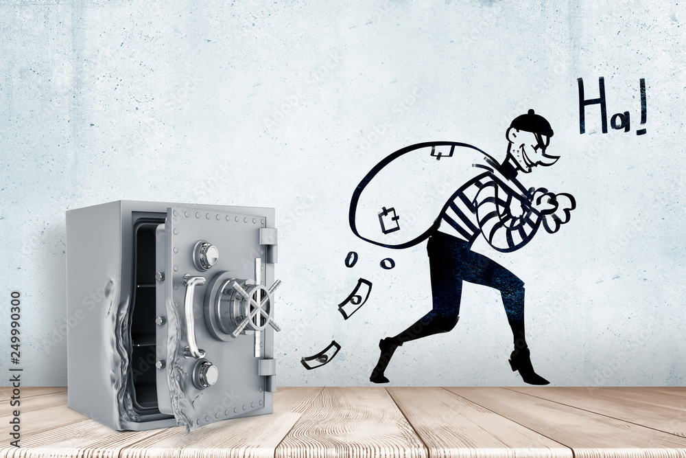 Fototapeta 3d rendering of broken open safe vault on white wooden floor and cartoon robber with money bag and 'HA' sign on white wall background